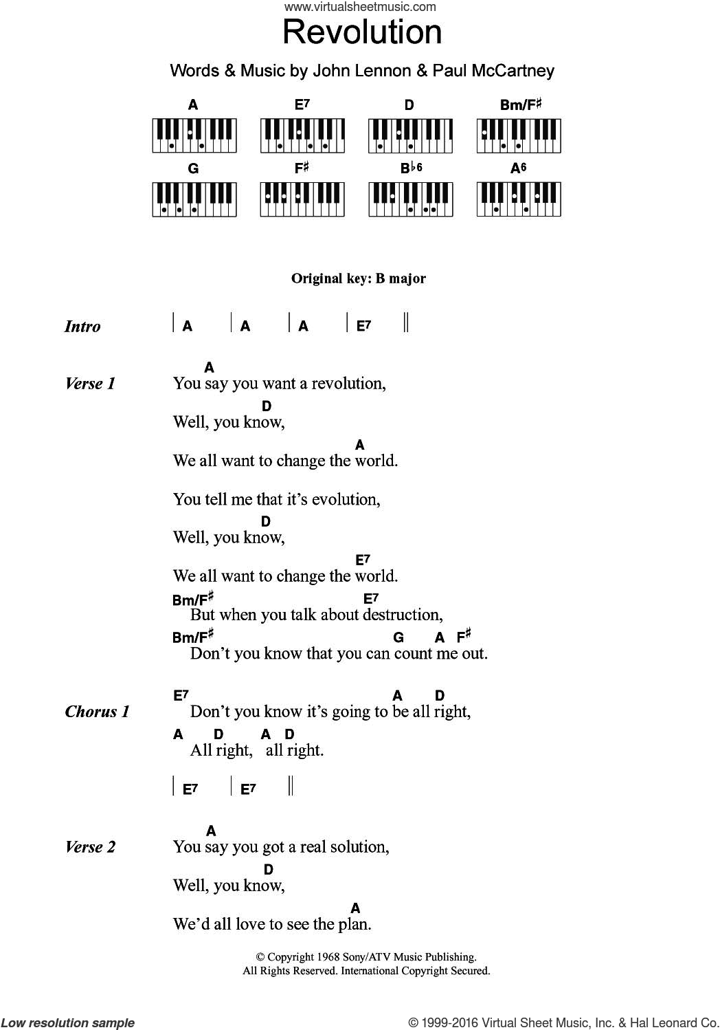 Revolution sheet music for piano solo (chords, lyrics, melody) by The Beatles, John Lennon and Paul McCartney. Score Image Preview.