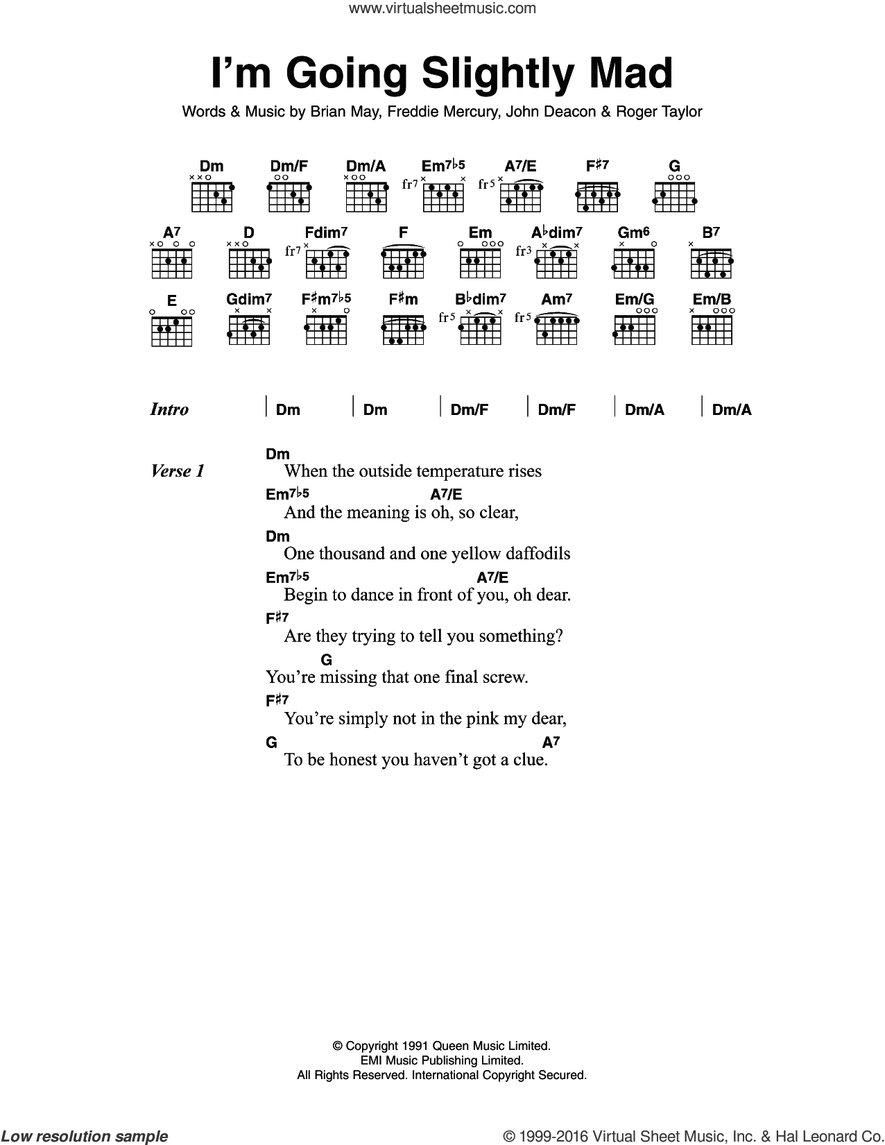 I'm Going Slightly Mad sheet music for guitar (chords) by Queen, Brian May, Freddie Mercury, John Deacon and Roger Taylor, intermediate