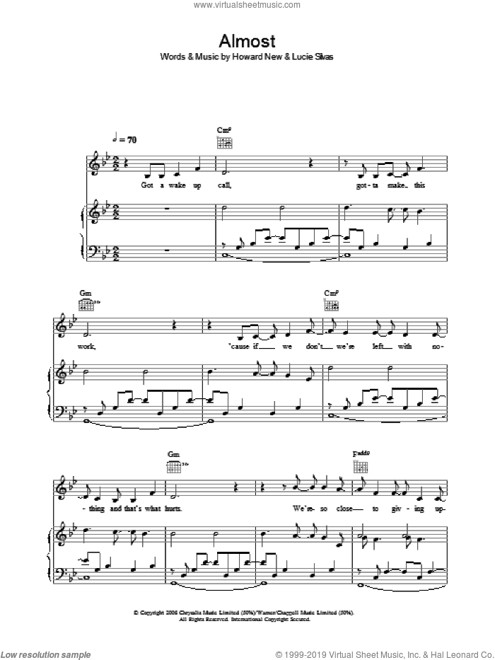 Almost sheet music for voice, piano or guitar by Lucie Silvas and Howard New, intermediate skill level