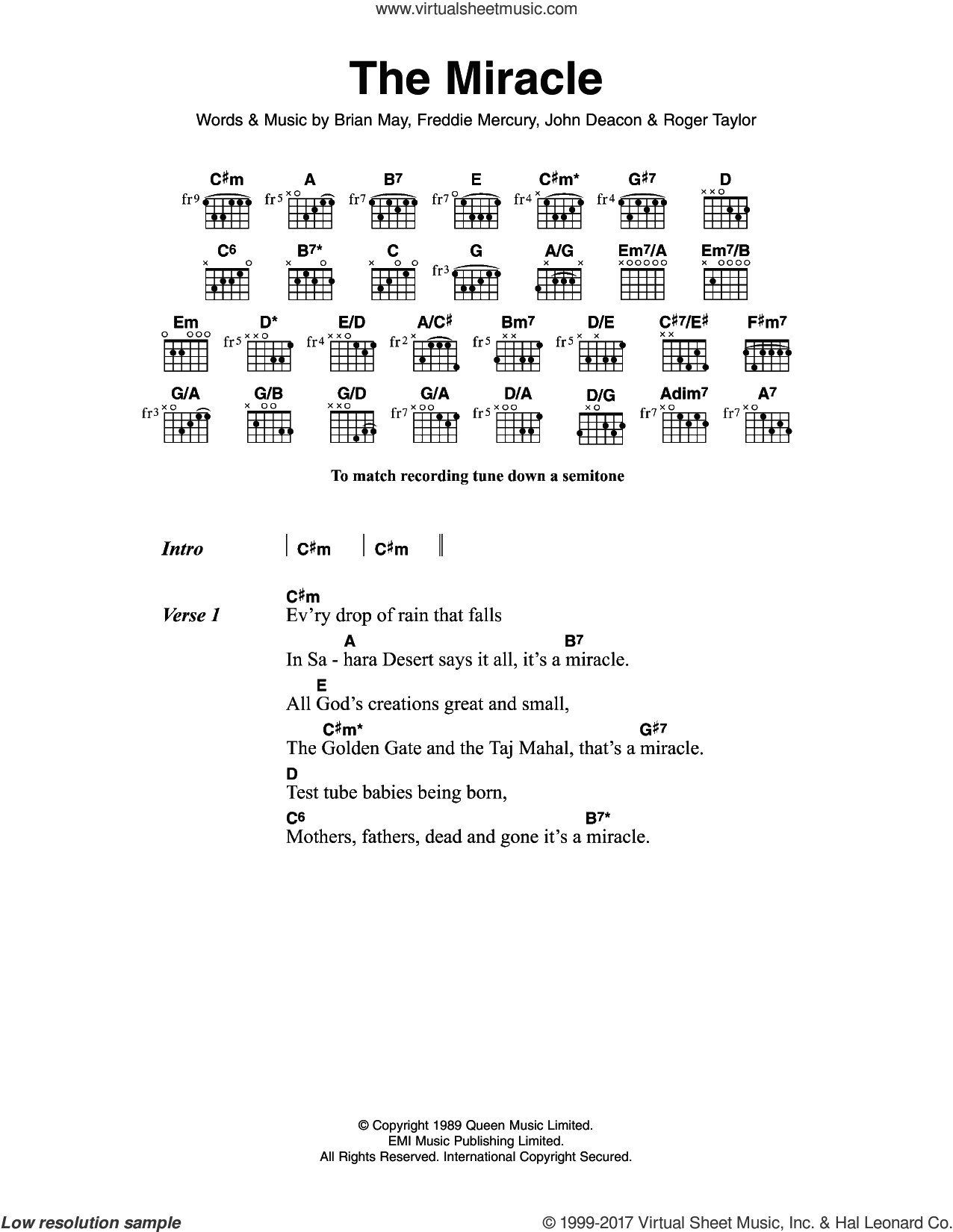 Queen The Miracle Sheet Music For Guitar Chords Pdf