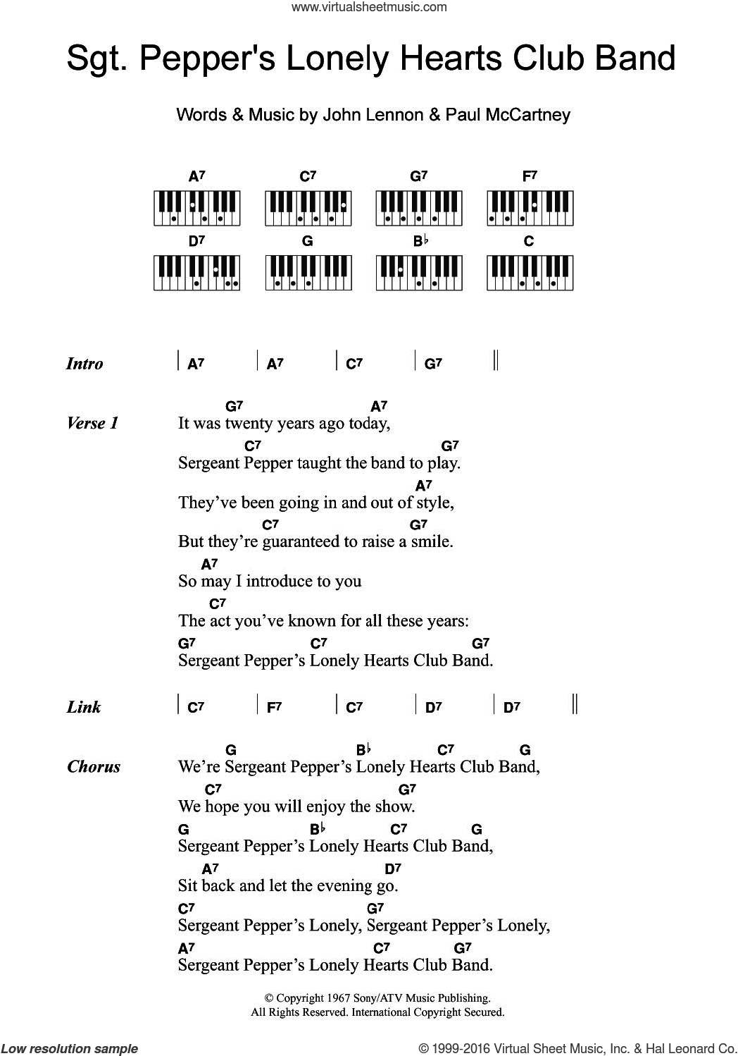Sgt. Pepper's Lonely Hearts Club Band sheet music for piano solo (chords, lyrics, melody) by Paul McCartney, The Beatles and John Lennon. Score Image Preview.
