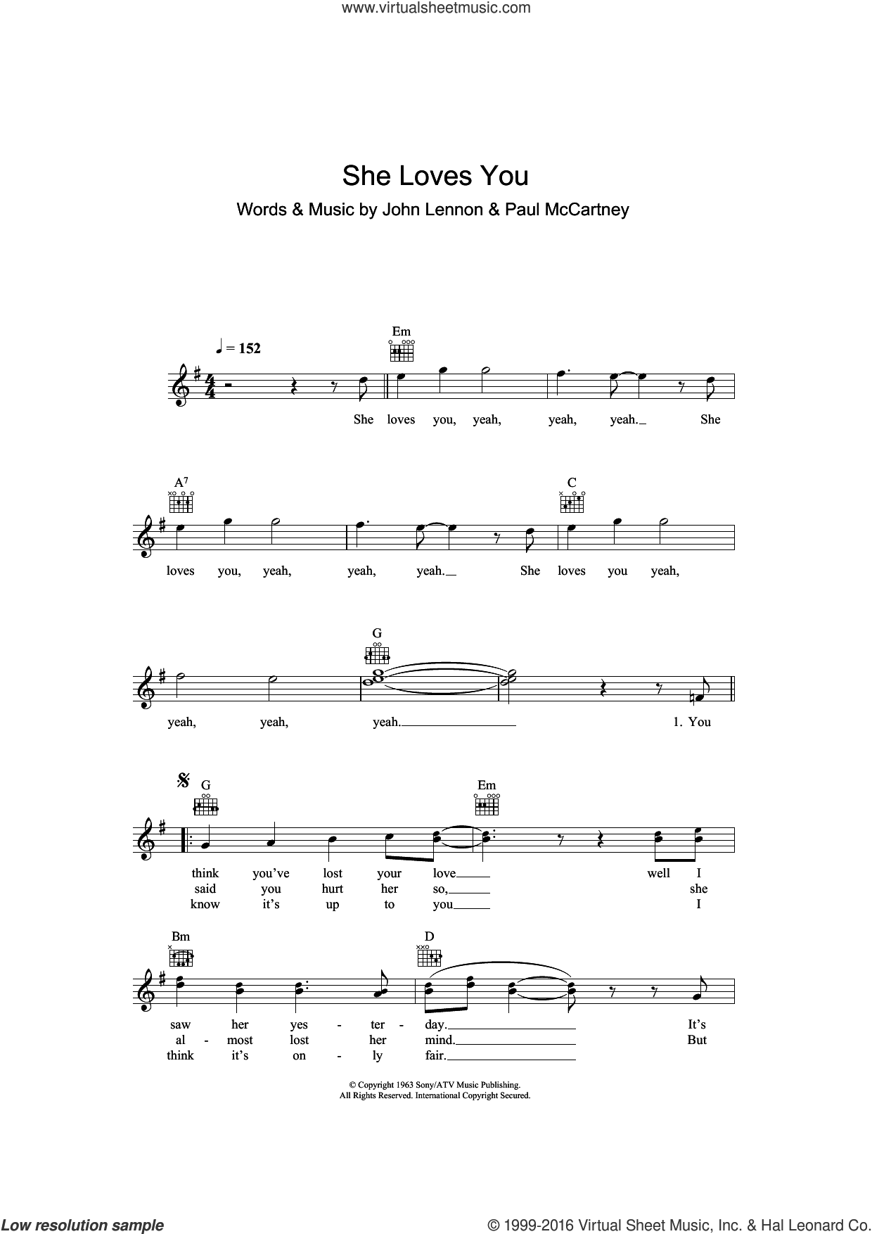 She Loves You sheet music for voice and other instruments (fake book) by The Beatles, John Lennon and Paul McCartney, intermediate. Score Image Preview.