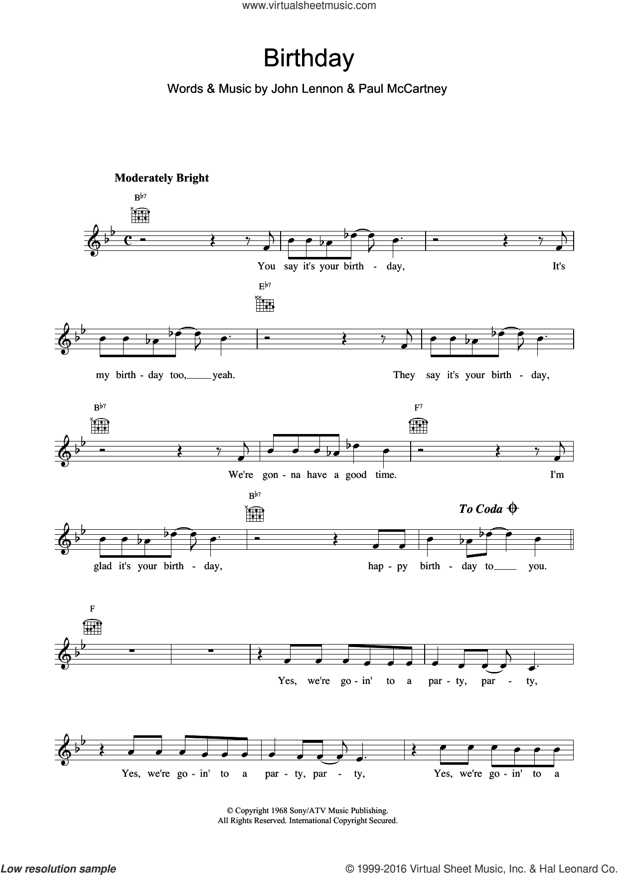 Birthday sheet music for voice and other instruments (fake book) by The Beatles, John Lennon and Paul McCartney. Score Image Preview.