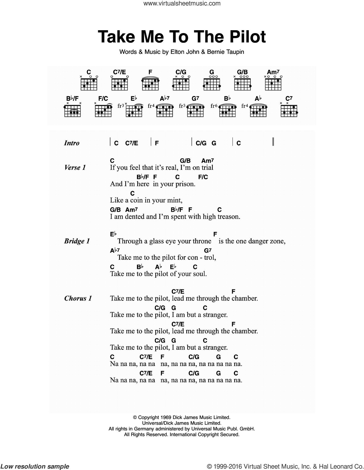Take Me To The Pilot sheet music for guitar (chords) by Elton John and Bernie Taupin, intermediate skill level