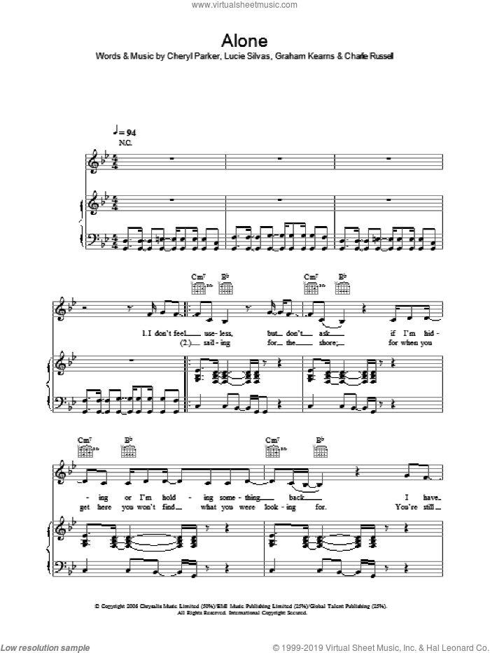 Alone sheet music for voice, piano or guitar by Lucie Silvas, intermediate voice, piano or guitar. Score Image Preview.