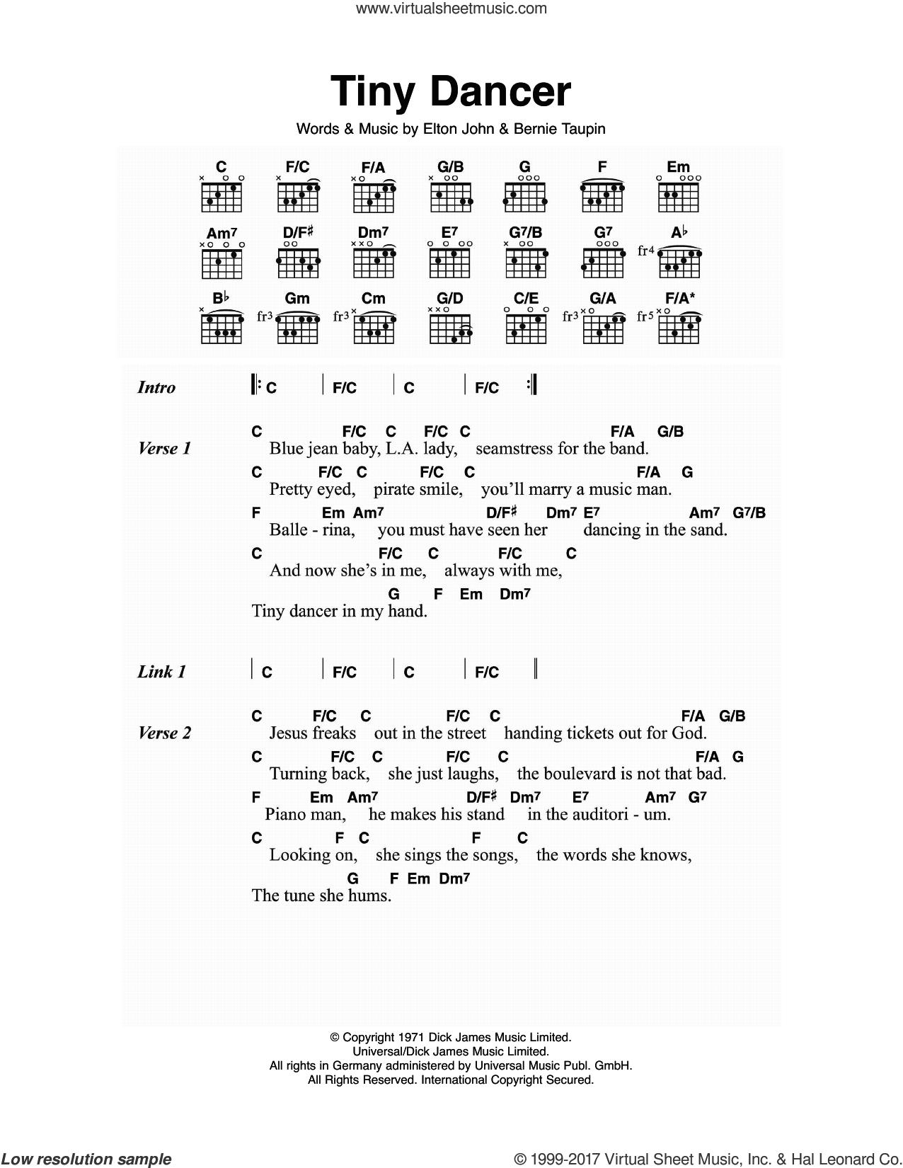 John Tiny Dancer Sheet Music For Guitar Chords Pdf
