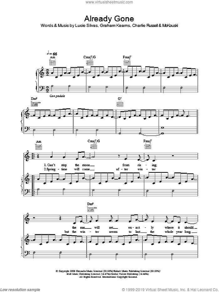 Already Gone sheet music for voice, piano or guitar by Lucie Silvas, intermediate voice, piano or guitar. Score Image Preview.