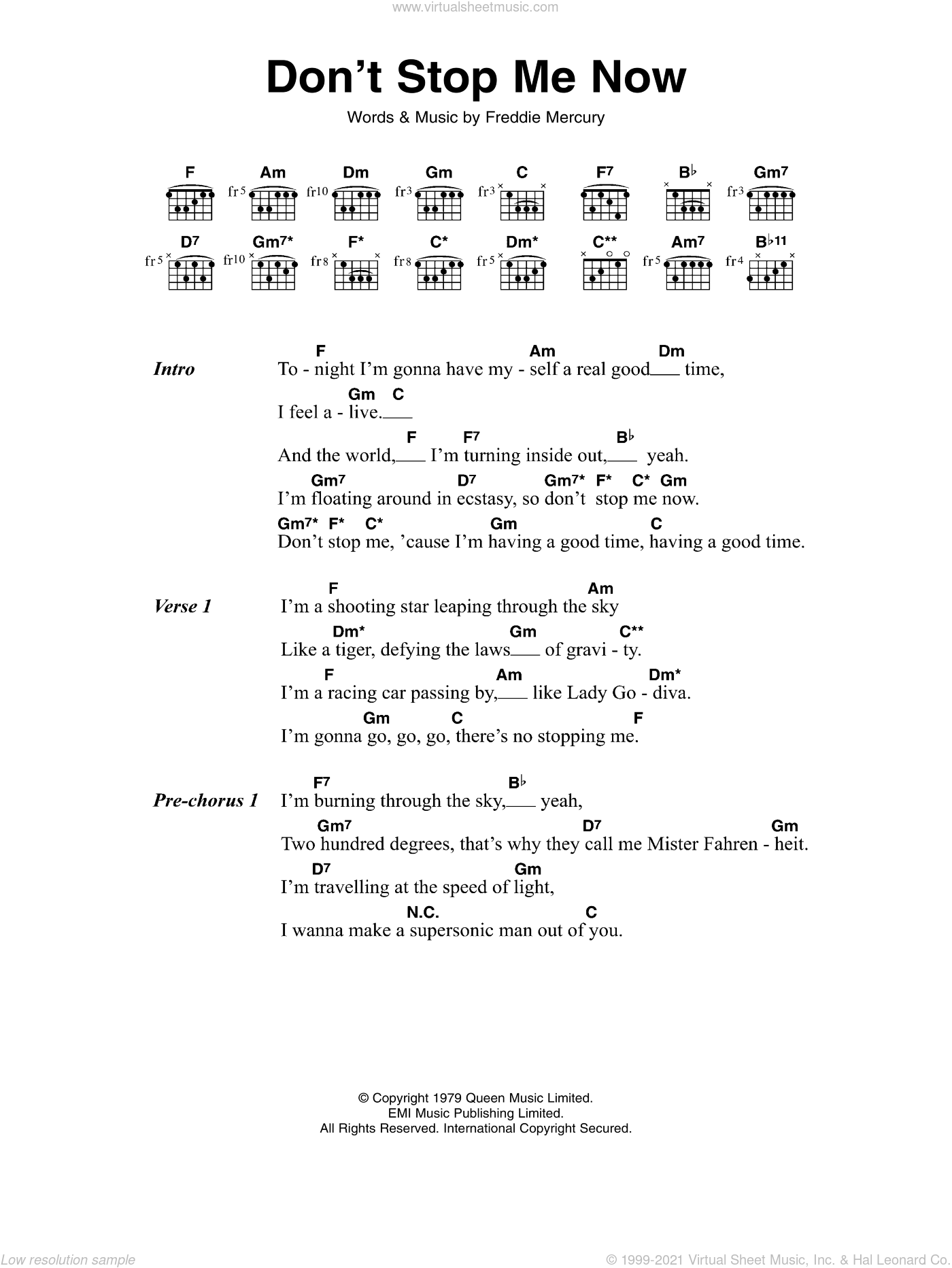 Queen   Don't Stop Me Now sheet music for guitar chords v15