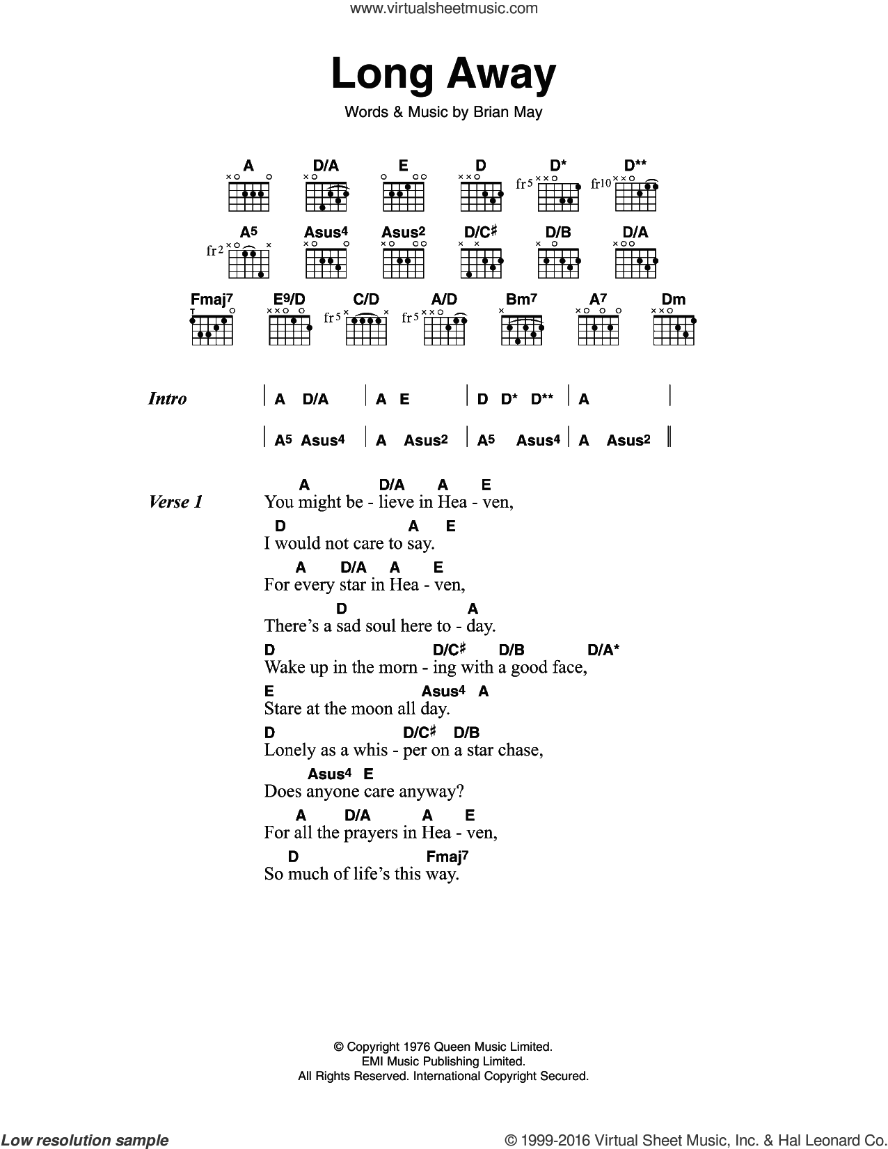 Long Away sheet music for guitar (chords) by Queen, intermediate. Score Image Preview.