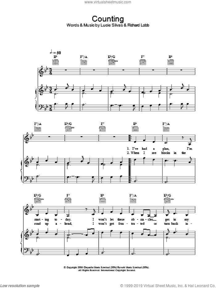 Counting sheet music for voice, piano or guitar by Richard Lobb and Lucie Silvas. Score Image Preview.