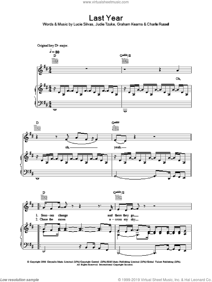 Last Year sheet music for voice, piano or guitar by Charlie Russell, Lucie Silvas and Graham Kearns. Score Image Preview.