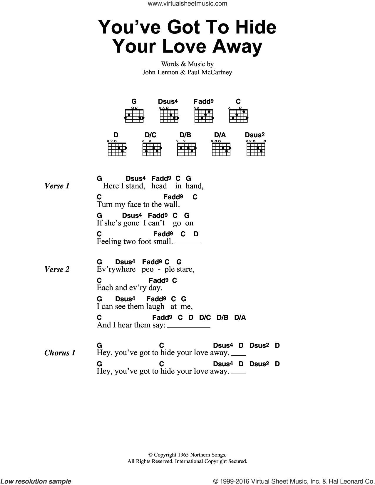 Beatles You Ve Got To Hide Your Love Away Sheet Music For Guitar Chords V2