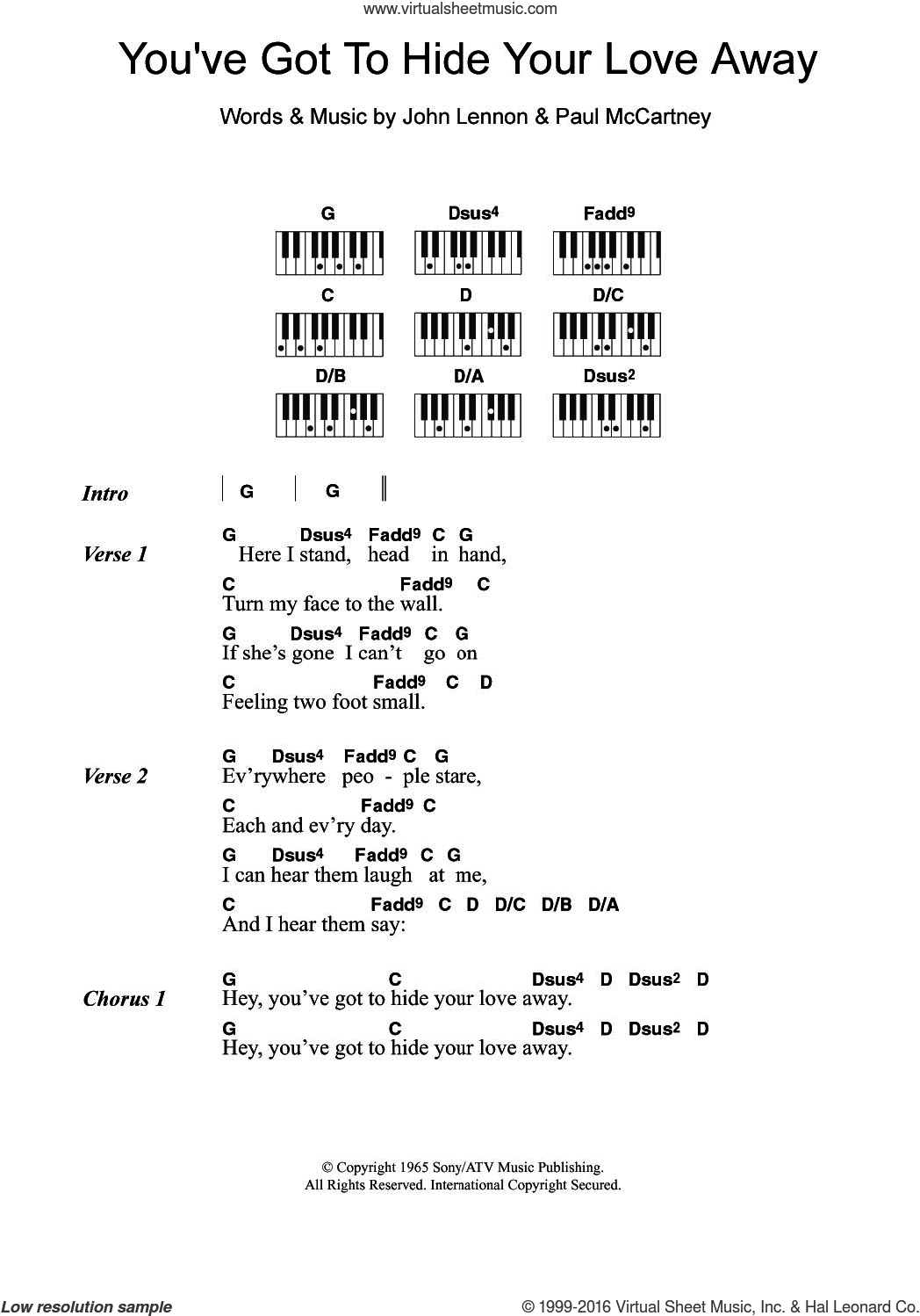 You've Got To Hide Your Love Away sheet music for piano solo (chords, lyrics, melody) by The Beatles, John Lennon and Paul McCartney, intermediate piano (chords, lyrics, melody)