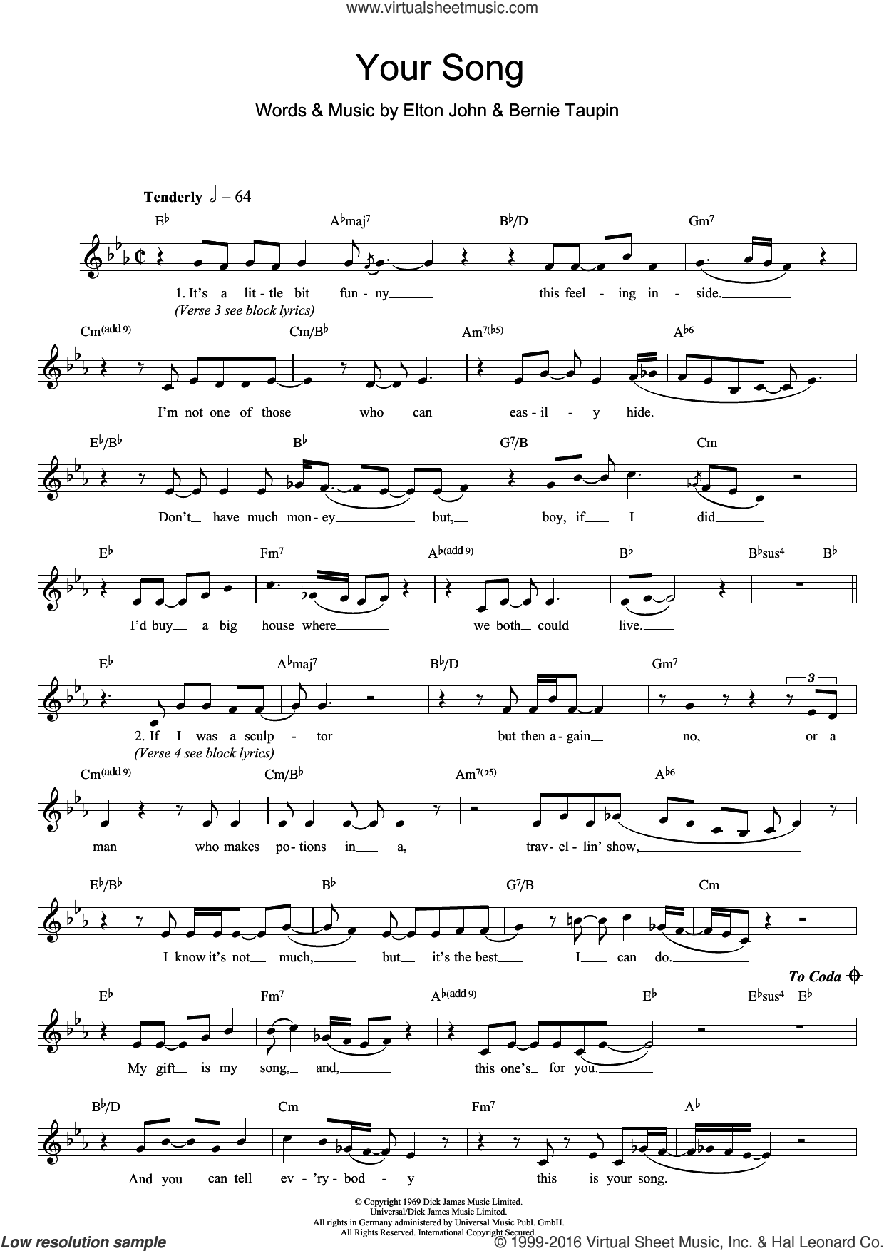 Your Song sheet music for voice and other instruments (fake book) by Elton John and Bernie Taupin. Score Image Preview.