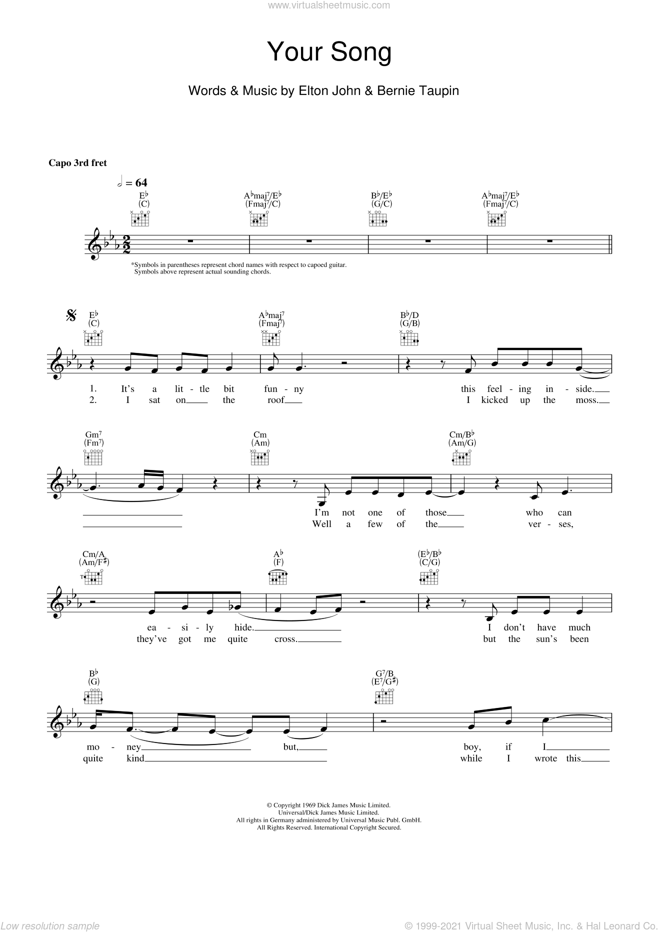 Your Song sheet music for voice and other instruments (fake book) by Elton John and Bernie Taupin, intermediate skill level