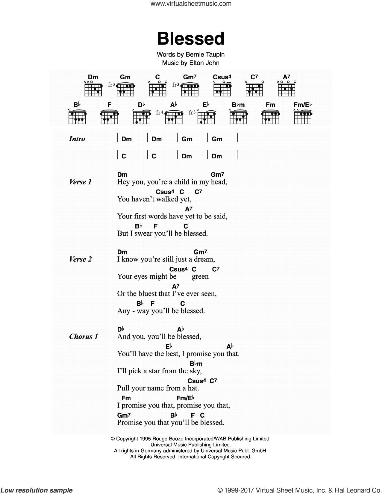 Blessed sheet music for guitar (chords) by Elton John and Bernie Taupin, intermediate skill level