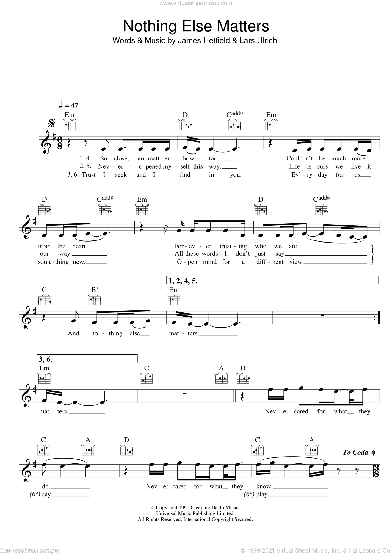 Nothing Else Matters sheet music for voice and other instruments (fake book) by Metallica, James Hetfield and Lars Ulrich, intermediate skill level