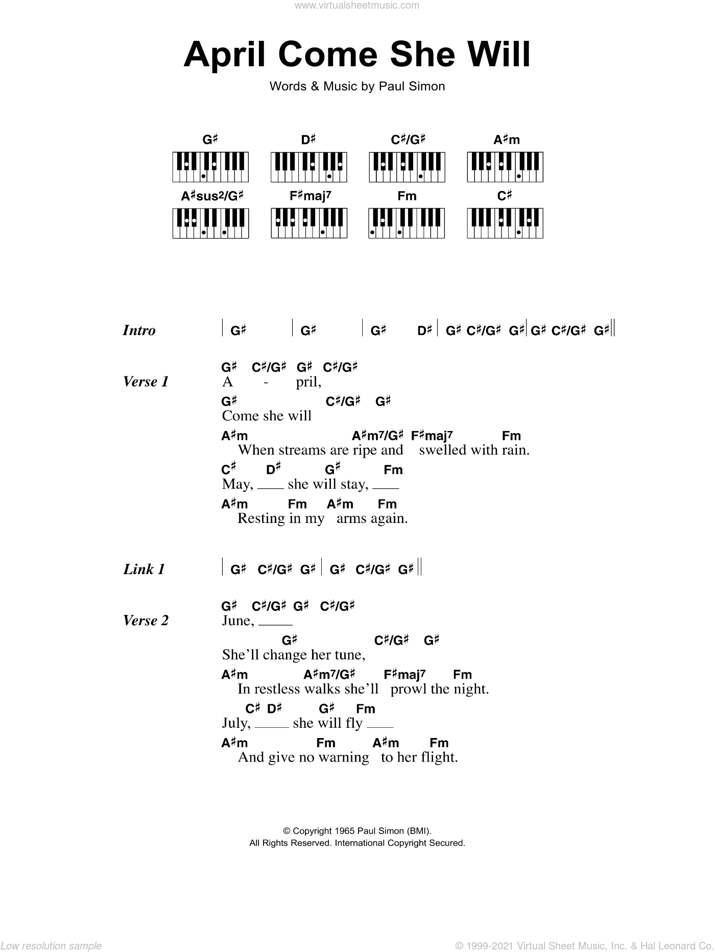 April Come She Will sheet music for piano solo (chords, lyrics, melody) by Paul Simon and Simon & Garfunkel. Score Image Preview.