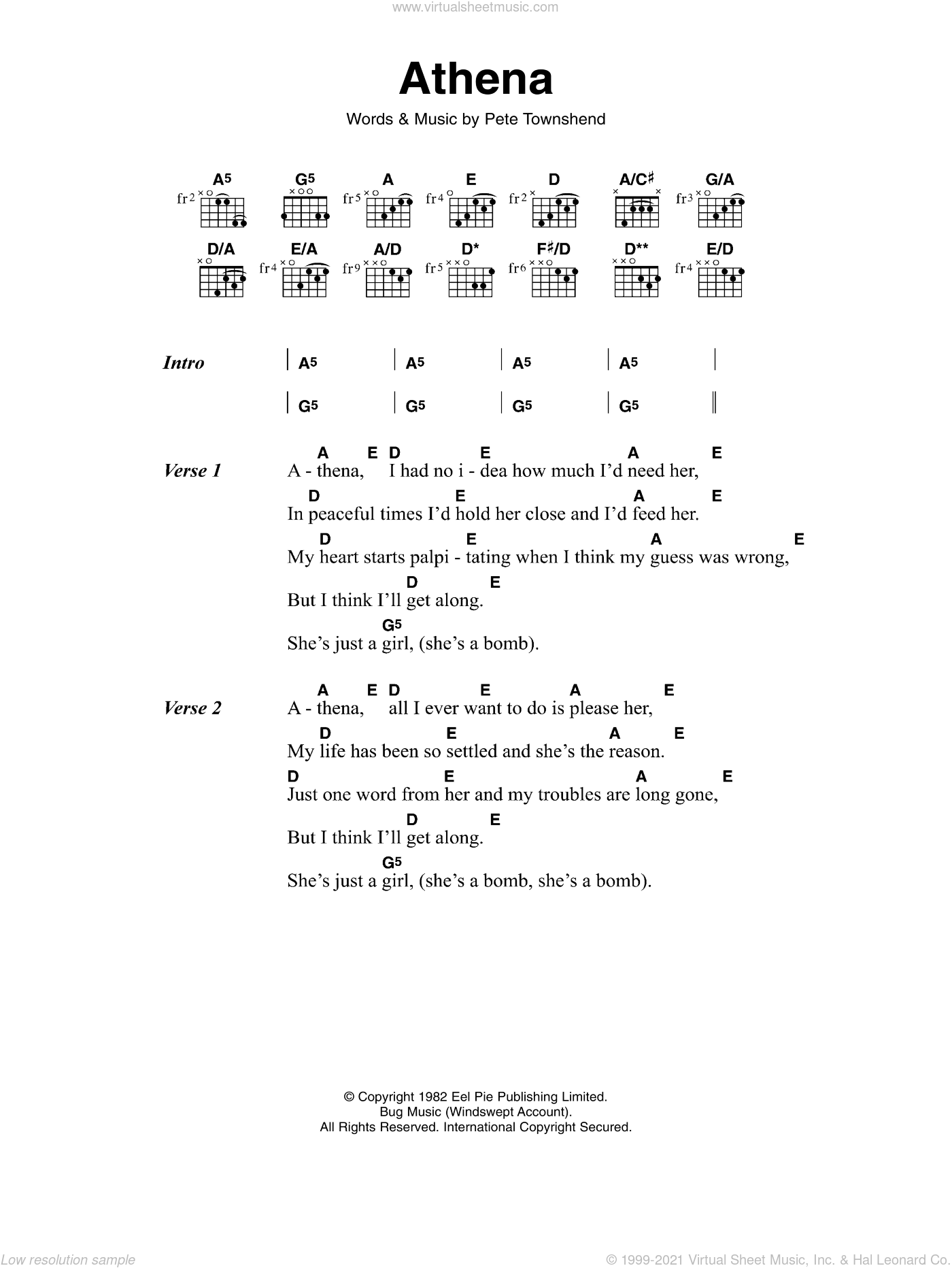 Athena sheet music for guitar (chords) by The Who and Pete Townshend, intermediate