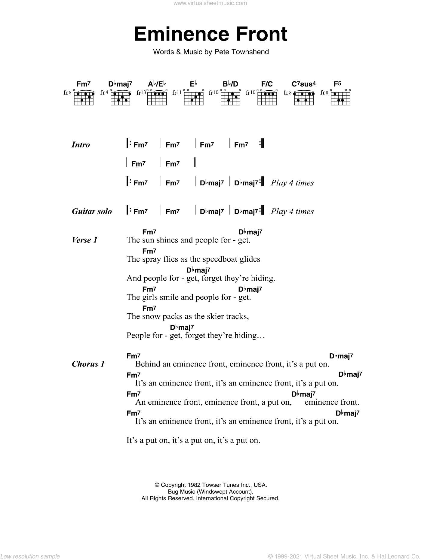 Eminence Front sheet music for guitar (chords) by The Who and Pete Townshend, intermediate skill level