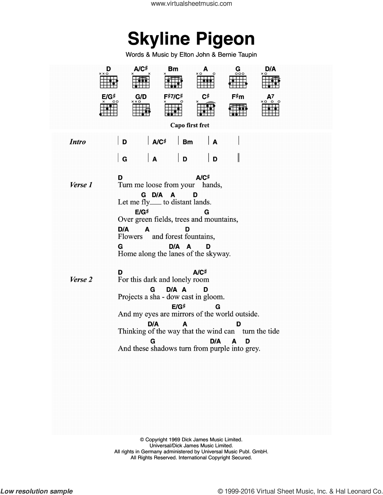 Skyline Pigeon sheet music for guitar (chords) by Bernie Taupin and Elton John. Score Image Preview.