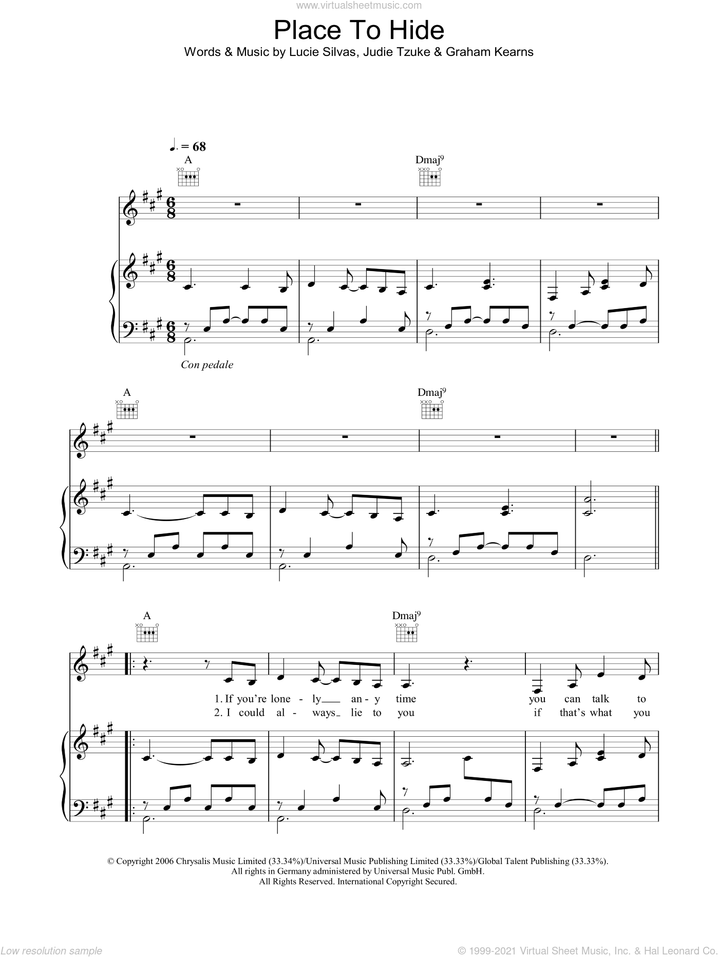 Place To Hide sheet music for voice, piano or guitar by Lucie Silvas and Judie Tzuke, intermediate voice, piano or guitar. Score Image Preview.