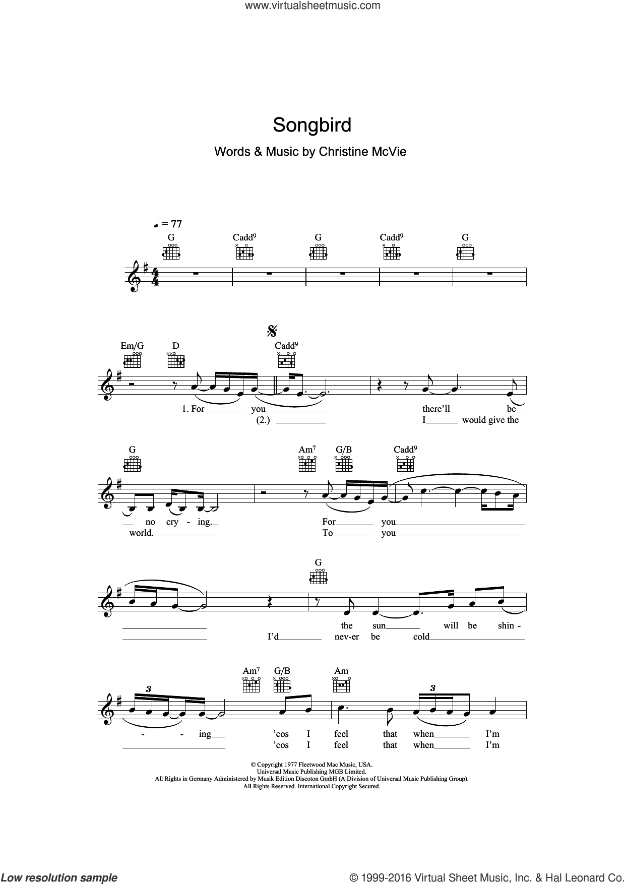 Songbird sheet music for voice and other instruments (fake book) by Eva Cassidy, Fleetwood Mac and Christine McVie, intermediate skill level
