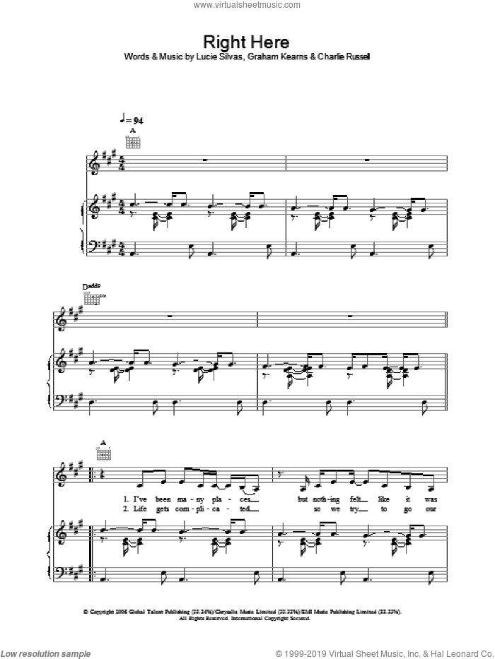 Right Here sheet music for voice, piano or guitar by Charlie Russell