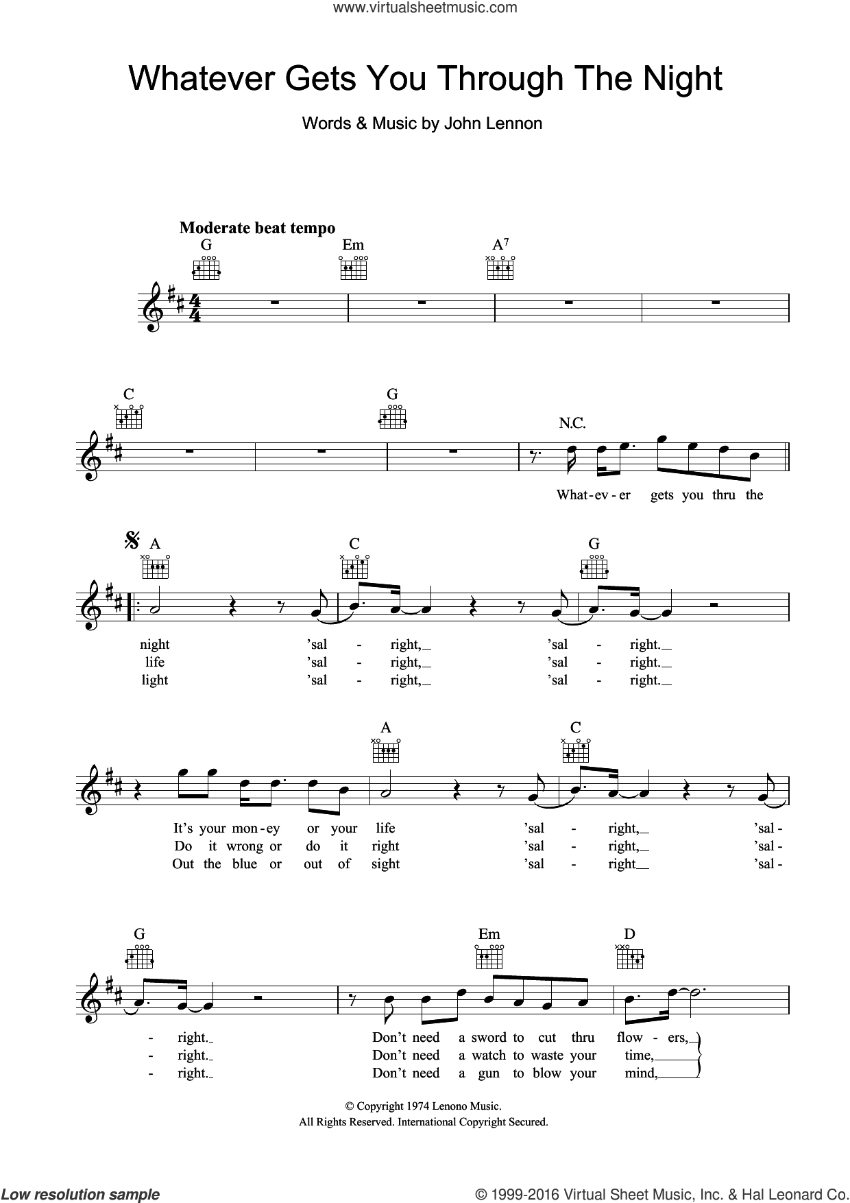 Whatever Gets You Through The Night sheet music for voice and other instruments (fake book) by John Lennon, intermediate skill level