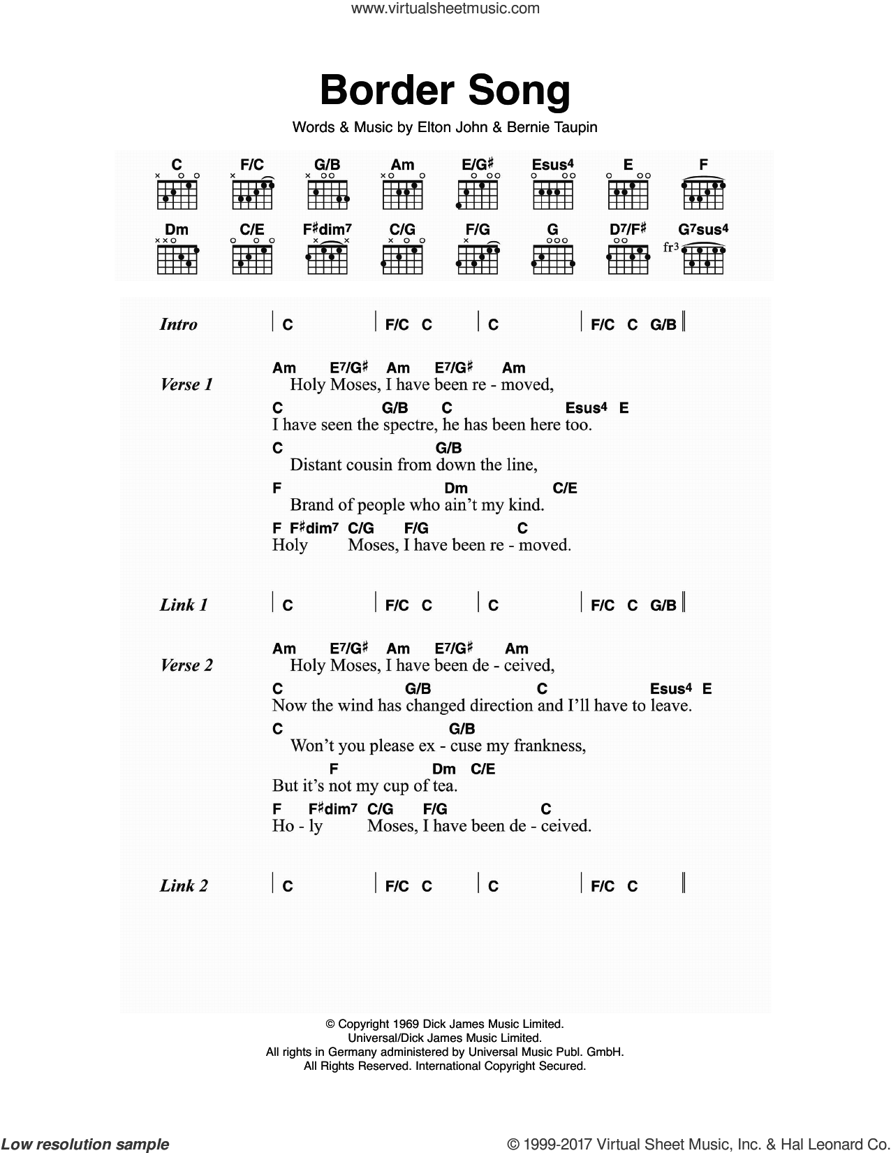 John Border Song Sheet Music For Guitar Chords Pdf