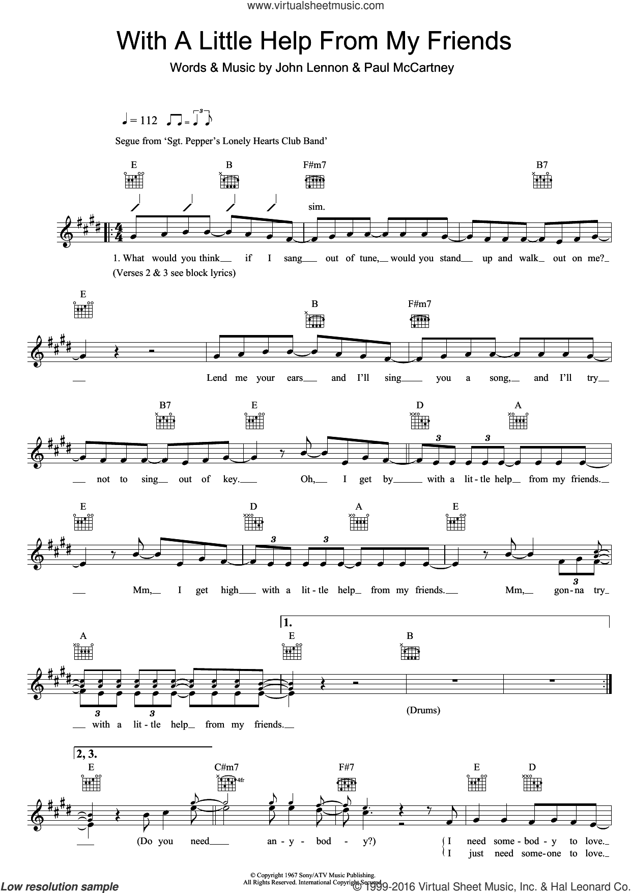 With A Little Help From My Friends sheet music for voice and other instruments (fake book) by The Beatles, John Lennon and Paul McCartney, intermediate. Score Image Preview.