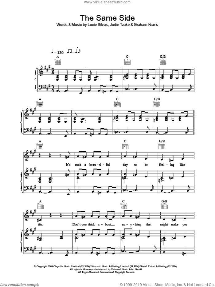 The Same Side sheet music for voice, piano or guitar by Lucie Silvas and Judie Tzuke, intermediate voice, piano or guitar. Score Image Preview.
