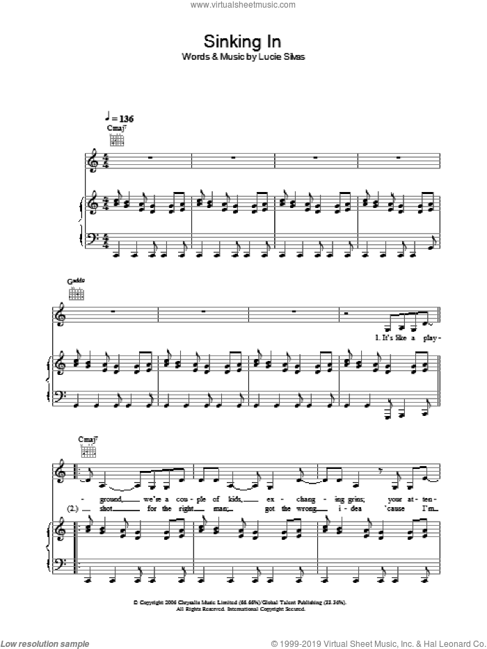Sinking In sheet music for voice, piano or guitar by Lucie Silvas. Score Image Preview.