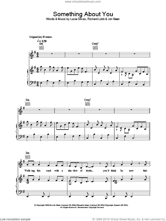 Something About You sheet music for voice, piano or guitar by Lucie Silvas, Johnny Green and Richard Lobb, intermediate skill level
