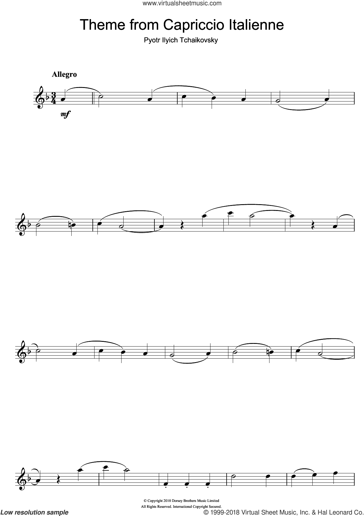 Capriccio Italienne sheet music for flute solo by Pyotr Ilyich Tchaikovsky. Score Image Preview.