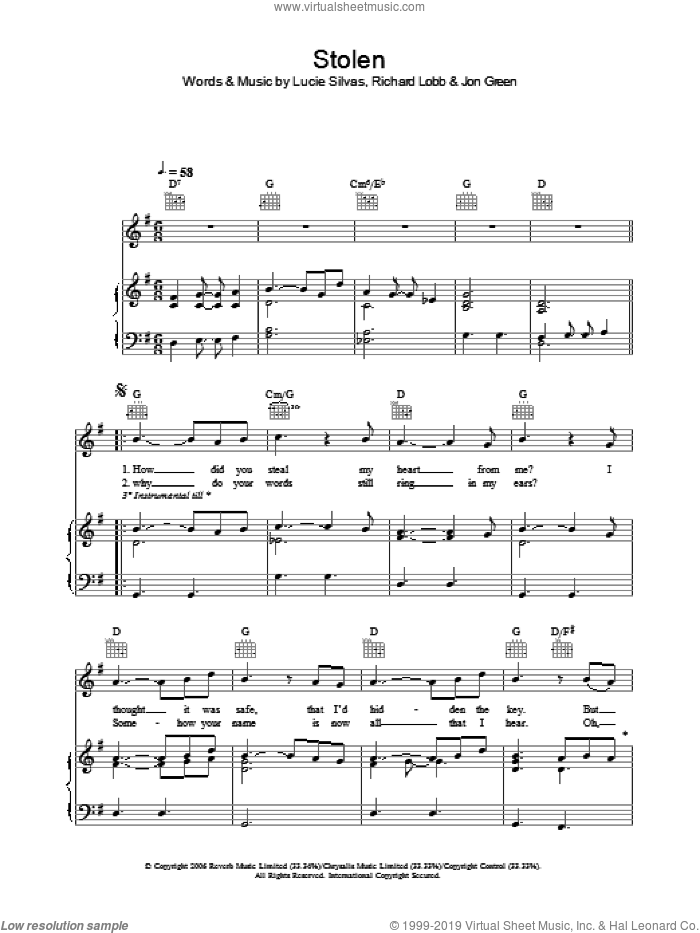 Stolen sheet music for voice, piano or guitar by Lucie Silvas, Johnny Green and Richard Lobb, intermediate skill level