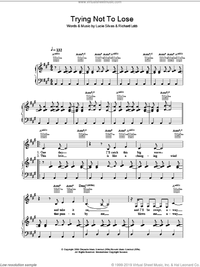 Trying Not To Lose sheet music for voice, piano or guitar by Lucie Silvas. Score Image Preview.