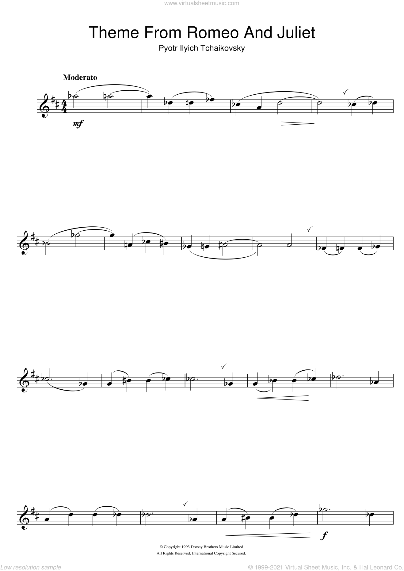 Romeo And Juliet sheet music for flute solo by Pyotr Ilyich Tchaikovsky. Score Image Preview.