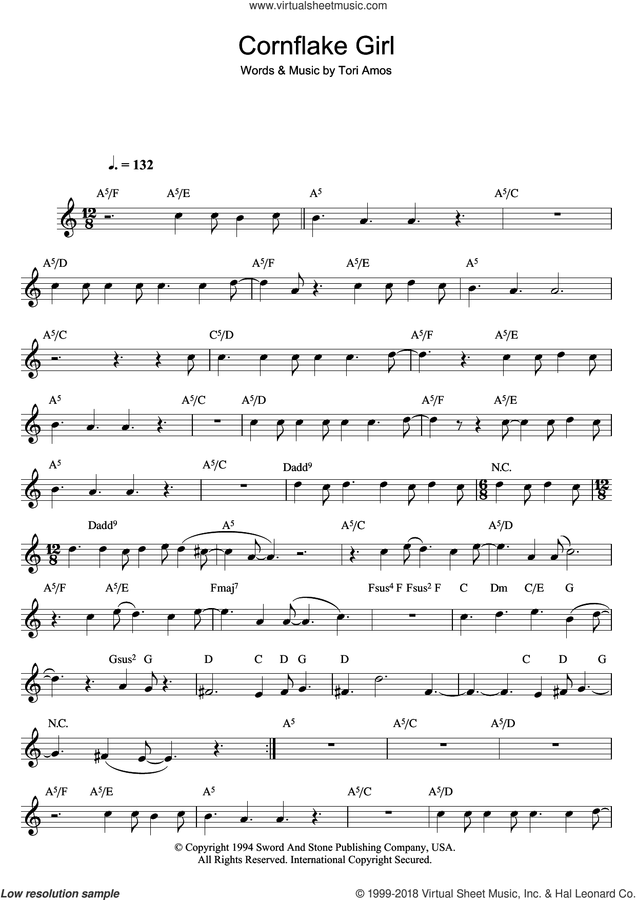 Cornflake Girl sheet music for flute solo by Tori Amos. Score Image Preview.