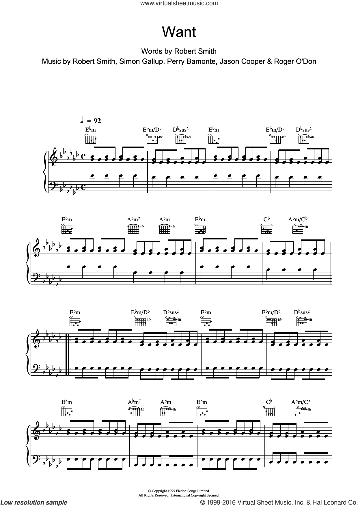 Want sheet music for violin solo by The Cure, intermediate. Score Image Preview.