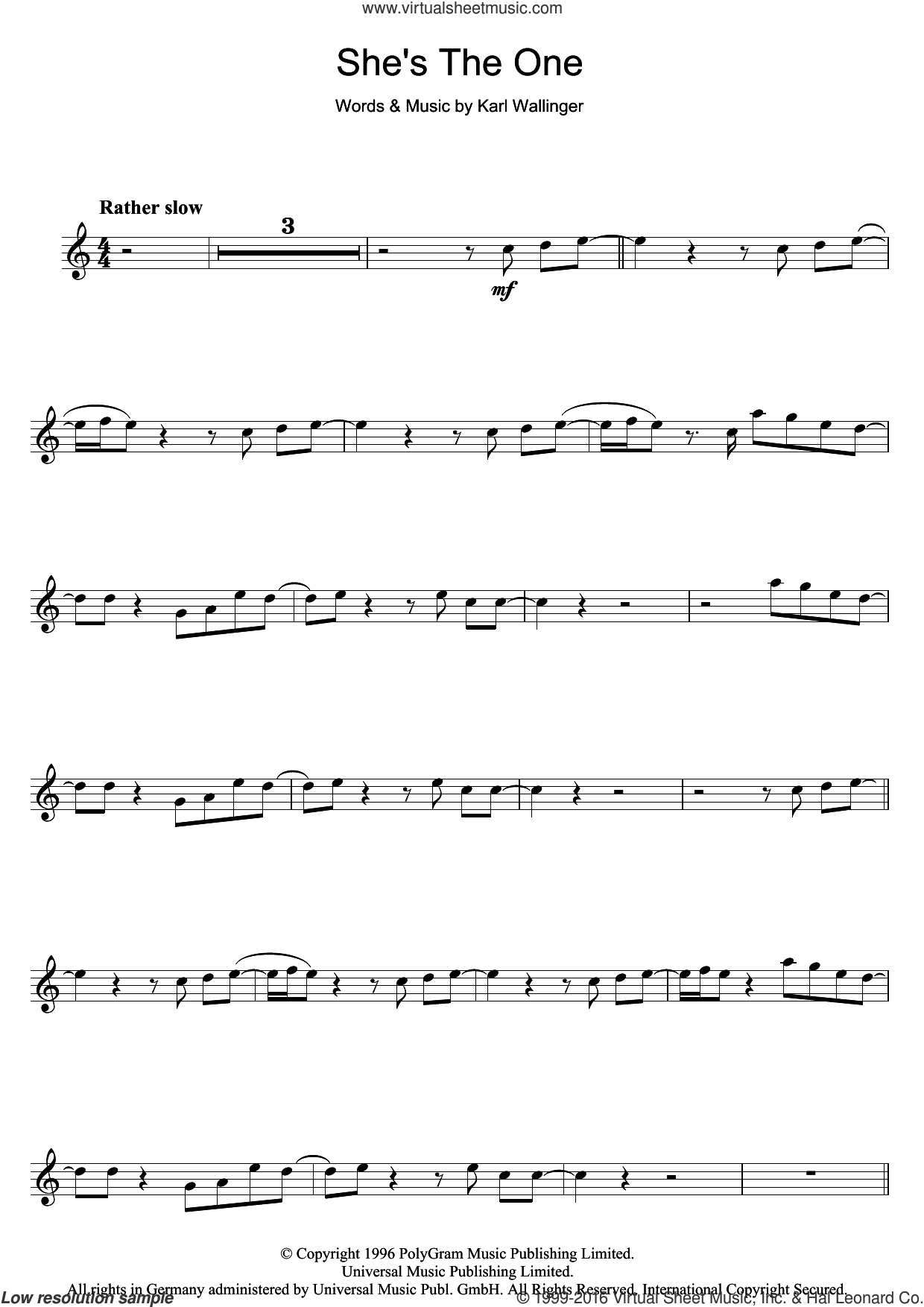 She's The One sheet music for clarinet solo by Robbie Williams and Karl Wallinger, intermediate clarinet. Score Image Preview.