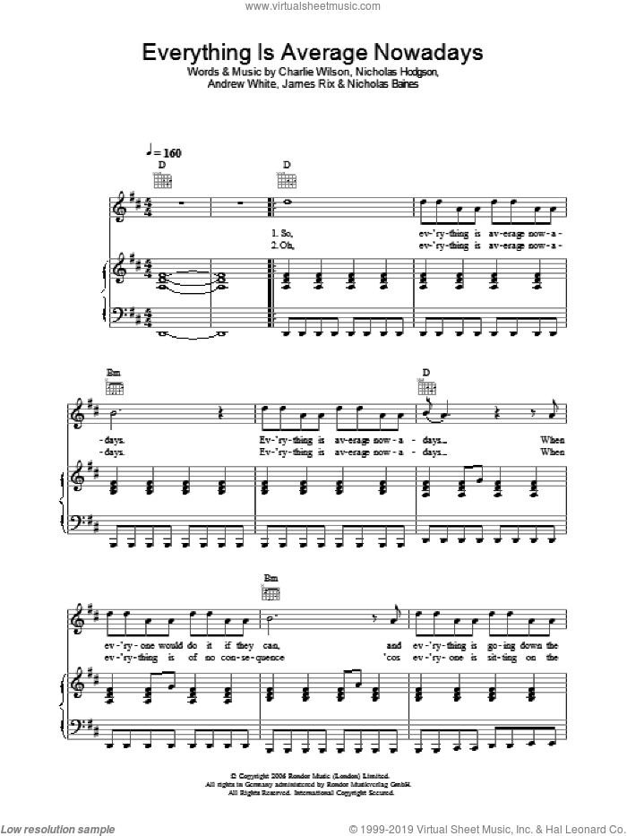 Everything Is Average Nowadays sheet music for voice, piano or guitar by Kaiser Chiefs and Charlie Wilson, intermediate. Score Image Preview.