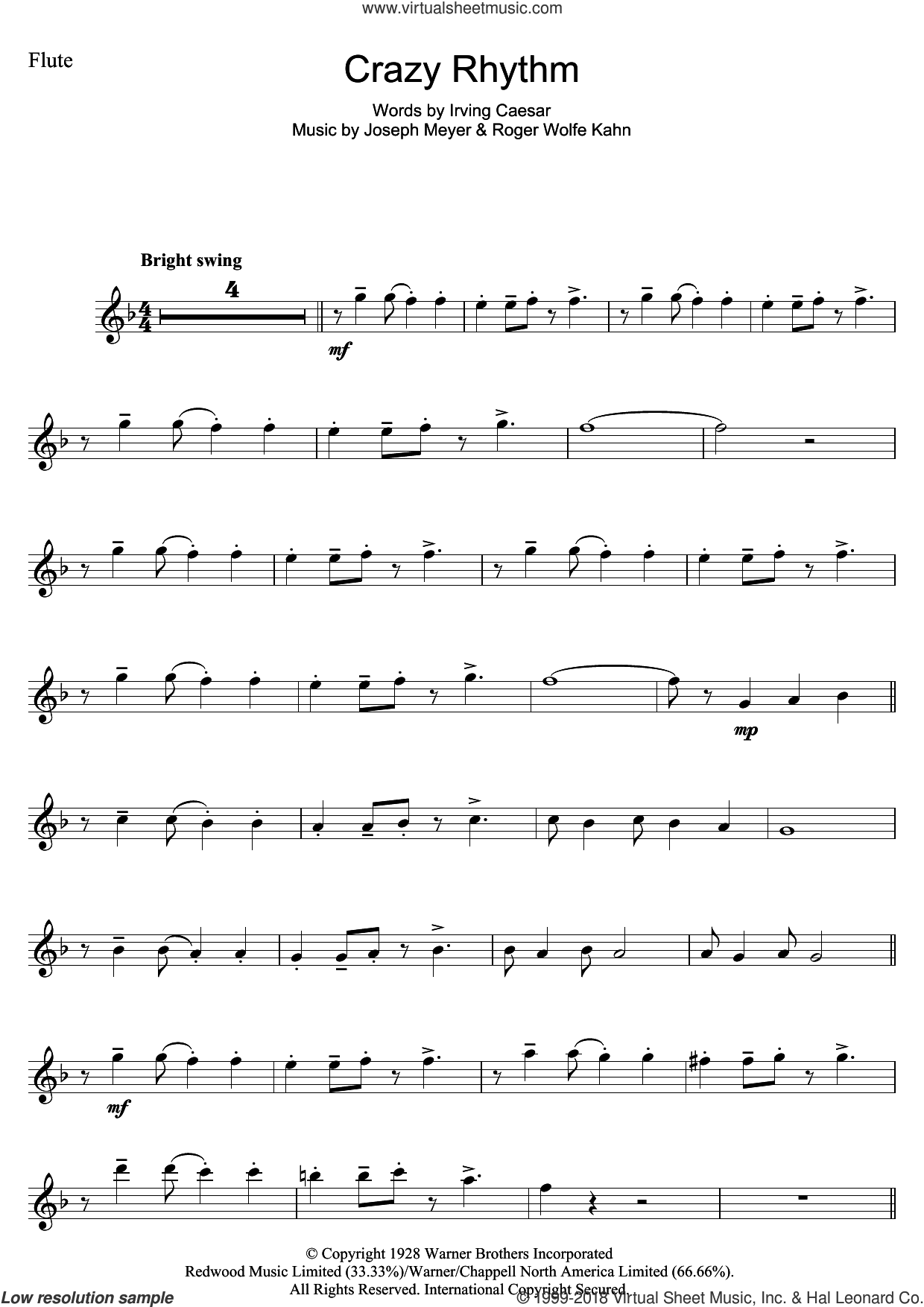 Crazy Rhythm sheet music for flute solo by Roger Wolfe Kahn, Chet Baker, Irving Caesar and Joseph Meyer. Score Image Preview.