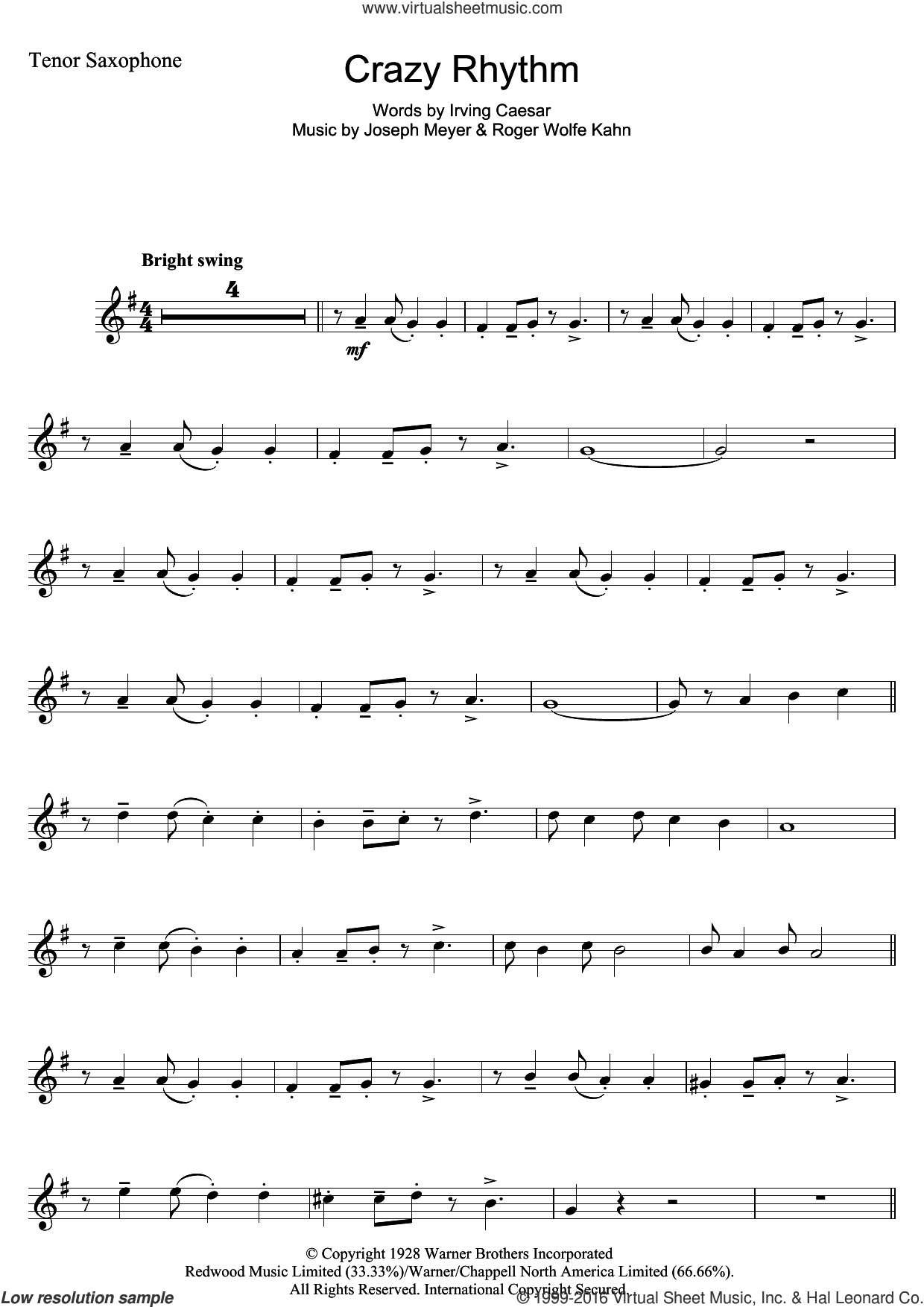Crazy Rhythm sheet music for tenor saxophone solo by Roger Wolfe Kahn, Chet Baker, Irving Caesar and Joseph Meyer. Score Image Preview.