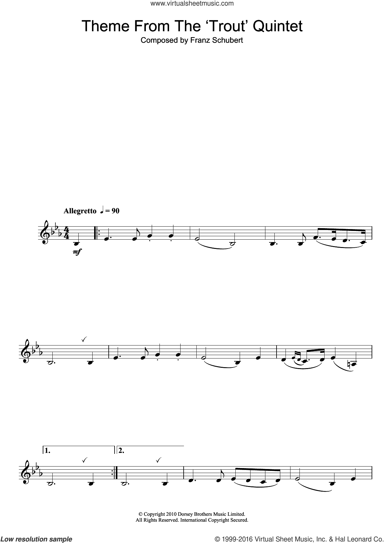 Theme From The Trout Quintet (Die Forelle) sheet music for saxophone solo by Franz Schubert. Score Image Preview.