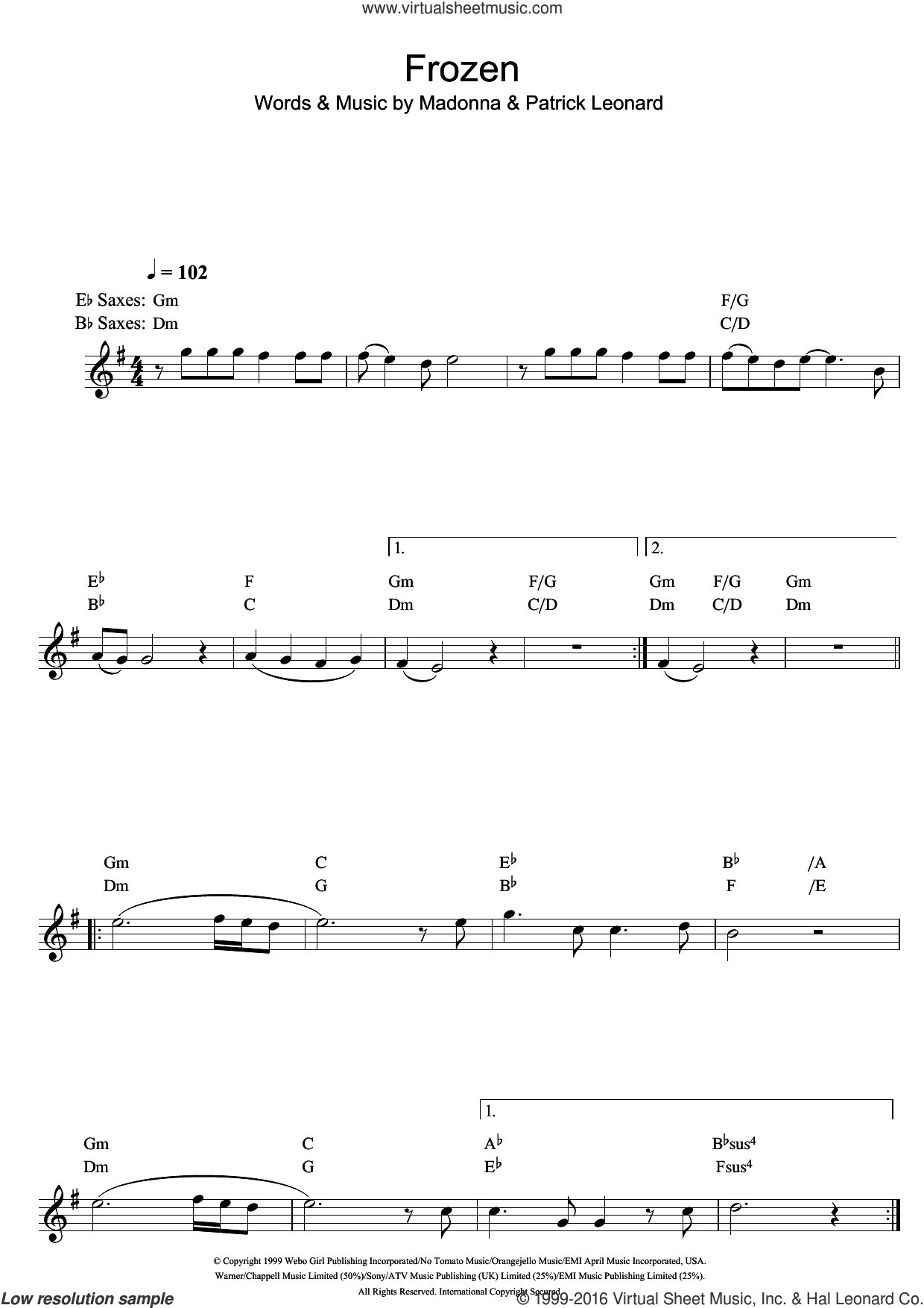 Frozen sheet music for saxophone solo by Madonna and Patrick Leonard. Score Image Preview.