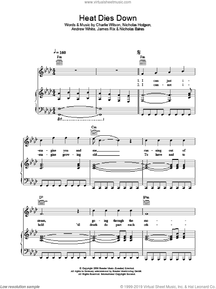 Heat Dies Down sheet music for voice, piano or guitar by Kaiser Chiefs, Andrew White, Charlie Wilson, James Rix, Nicholas Baines and Nicholas Hodgson, intermediate skill level