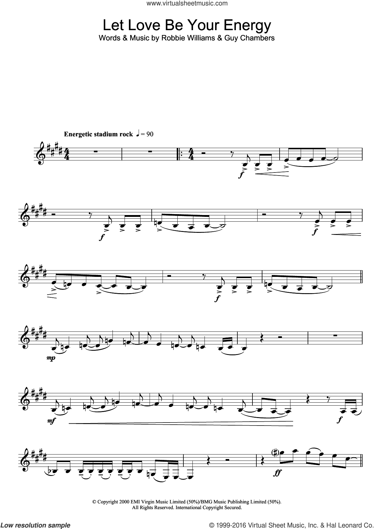 Let Love Be Your Energy sheet music for clarinet solo by Robbie Williams and Guy Chambers, intermediate skill level