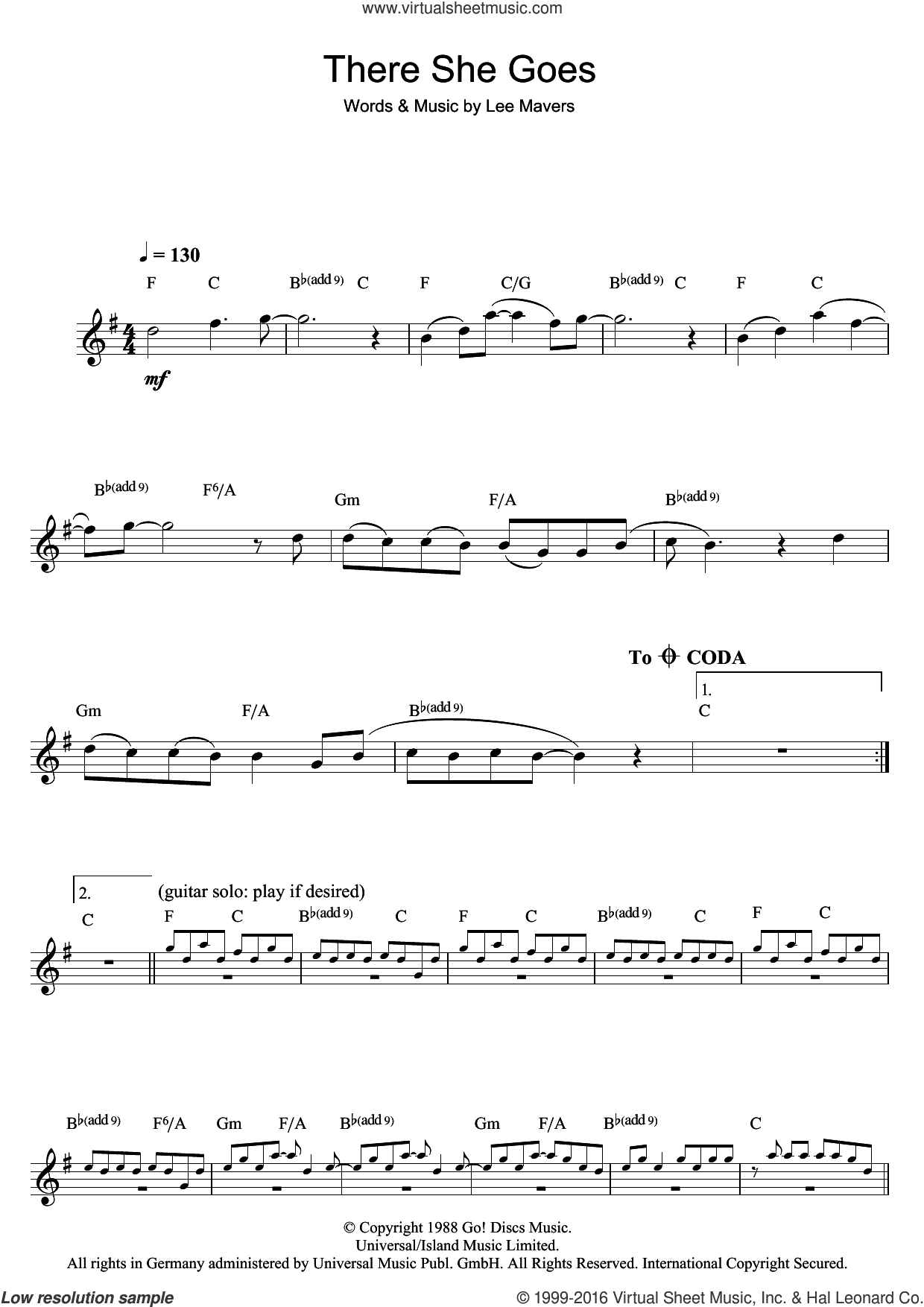 There She Goes sheet music for clarinet solo by Lee Mavers. Score Image Preview.