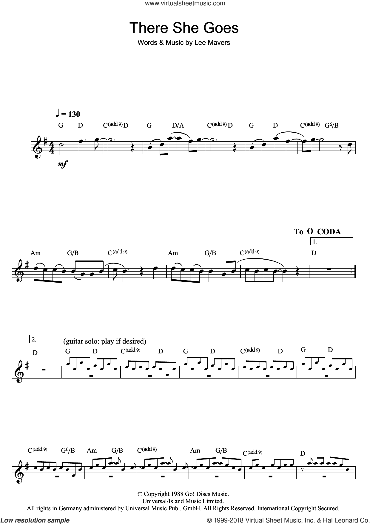 There She Goes sheet music for flute solo by The La's. Score Image Preview.